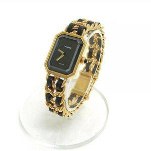 Auth CHANEL Watch Size L Gold Plate Quartz